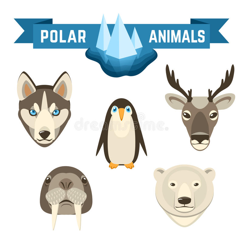 Polar Animals Set stock illustration