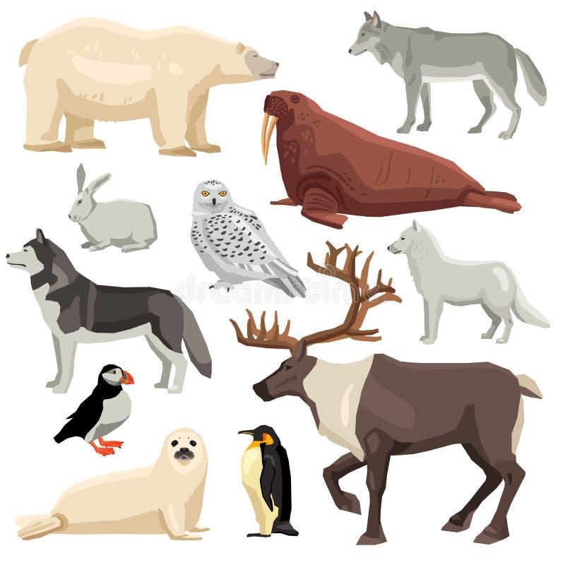 Polar Animals Set royalty free illustration