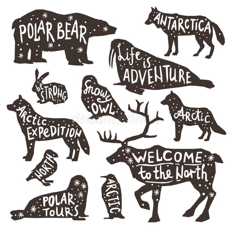 Polar Animals Silhouettes stock illustration