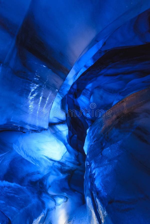 Arctic Northern ice cave in Norway Svalbard in Longyearbyen city stock photos