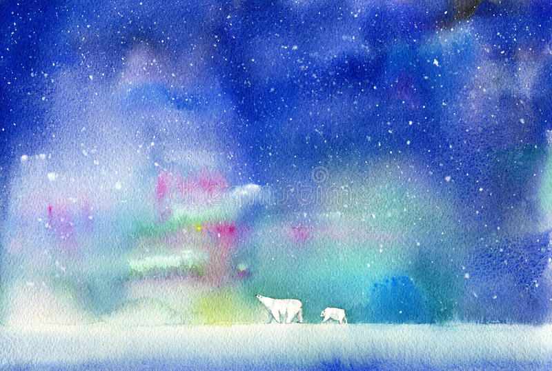Polar bear, bear cub and northern lights. Winter landscape with animals and sky. Watercolor hand drawn illustration stock illustration