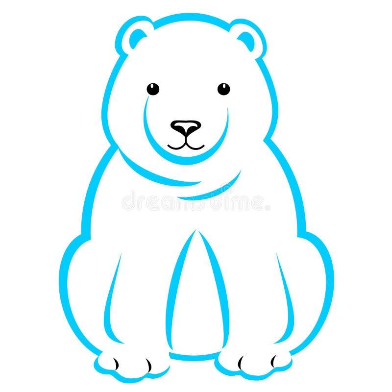 Polar Bear Blue Outline royalty free stock image