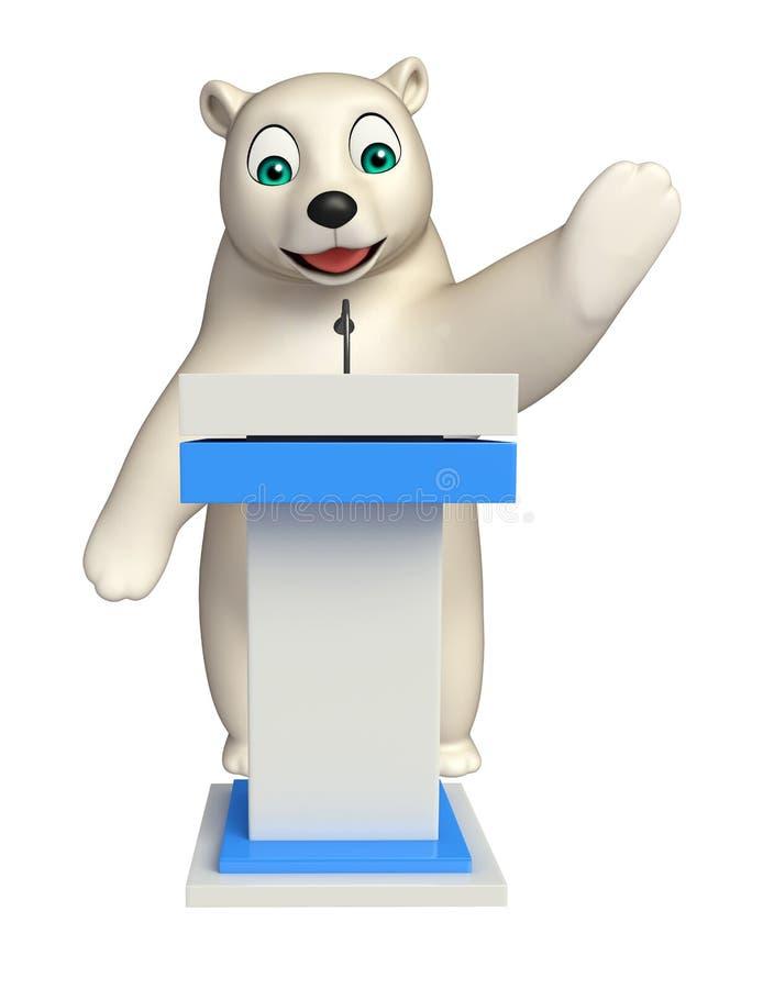 Polar bear cartoon character with speech stage. 3d rendered illustration of Polar bear cartoon character with speech stage vector illustration