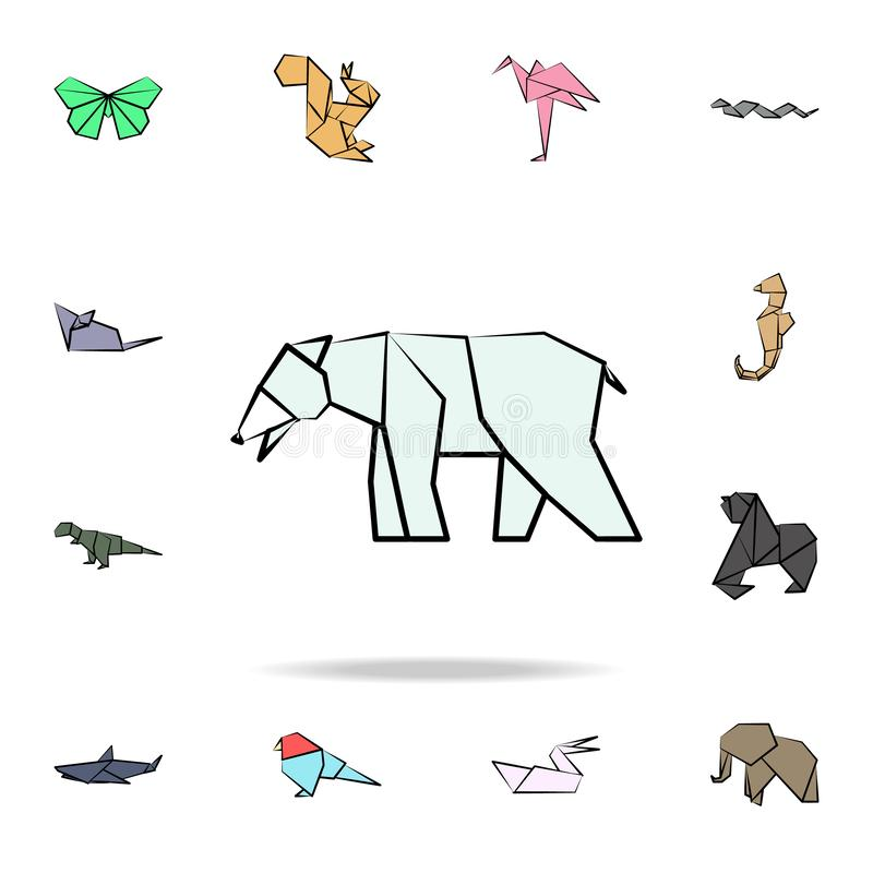 Polar bear colored origami icon. Detailed set of origami animal in hand drawn style icons. Premium graphic design. One of the. Collection icons for websites royalty free illustration