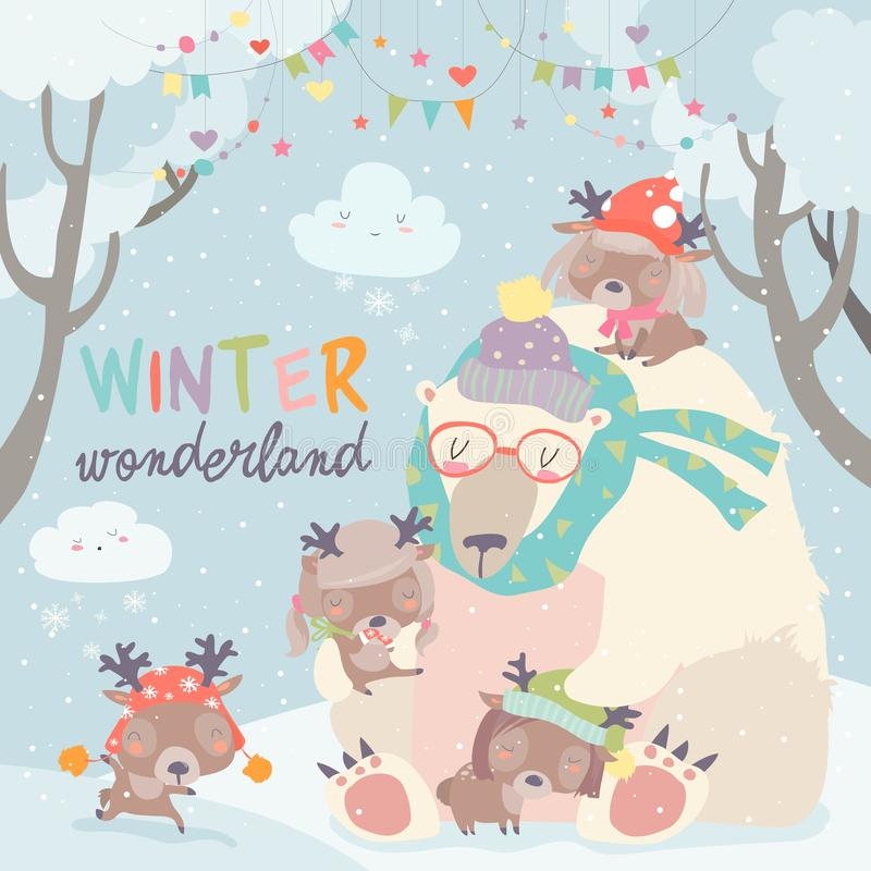 Polar bear with cute little deers in snow forest stock illustration