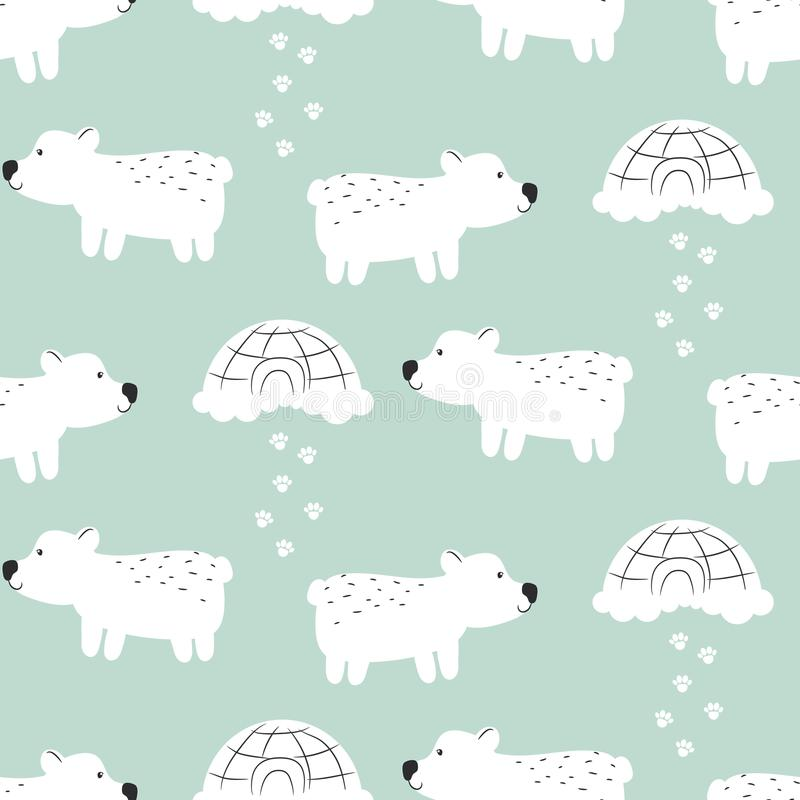 Polar bear cute seamless vector pattern. vector illustration