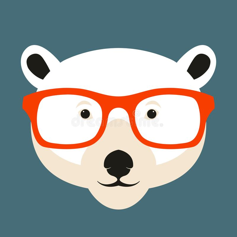 Free Polar Bear Face In Glasses Vector Illustration Flat Royalty Free Stock Image - 103143486