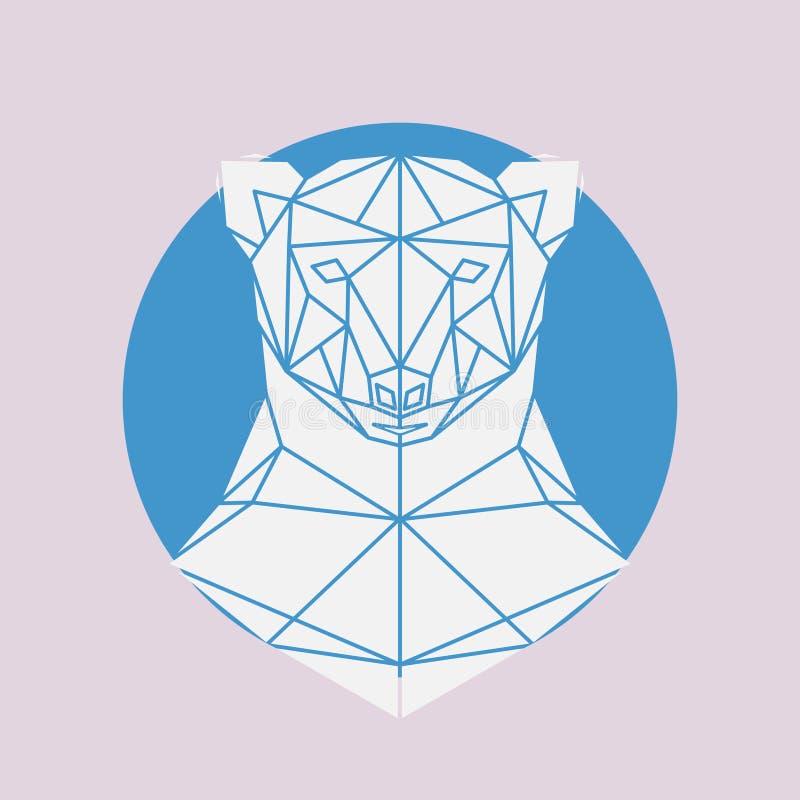Polar bear head geometric lines silhouette vector illustration