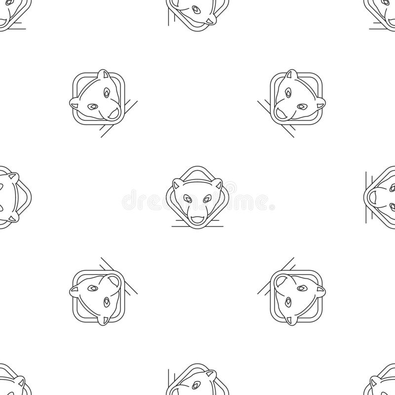 Polar bear head pattern seamless vector royalty free illustration