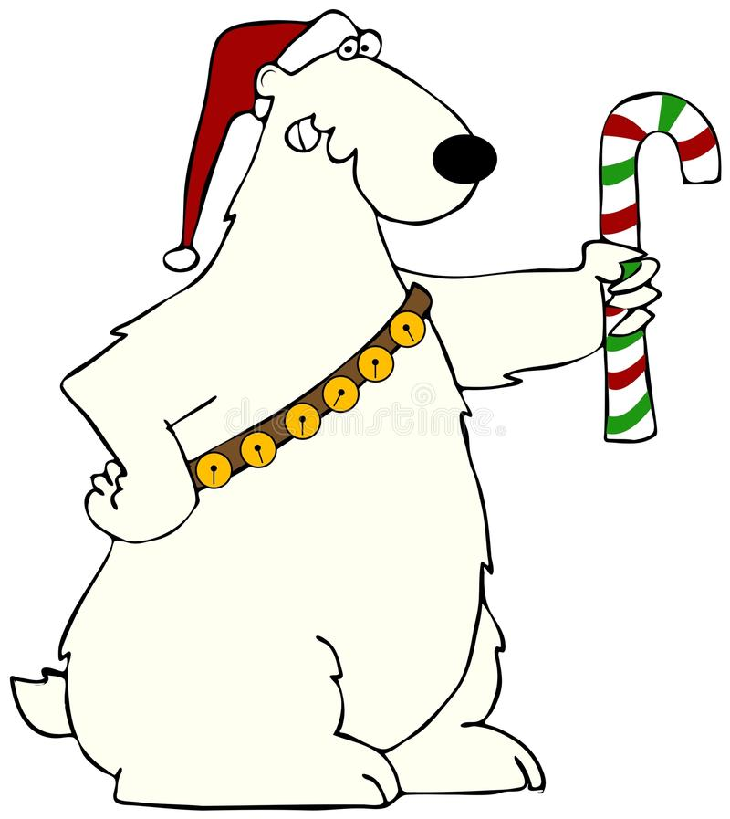 Download Polar Bear Holding A Candy Cane Stock Illustration - Illustration: 27823386