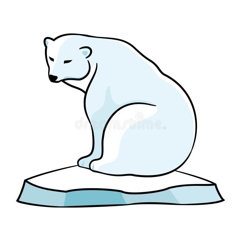 Polar bear on an ice floe. Polar bear on an ice floe on a white background vector illustration