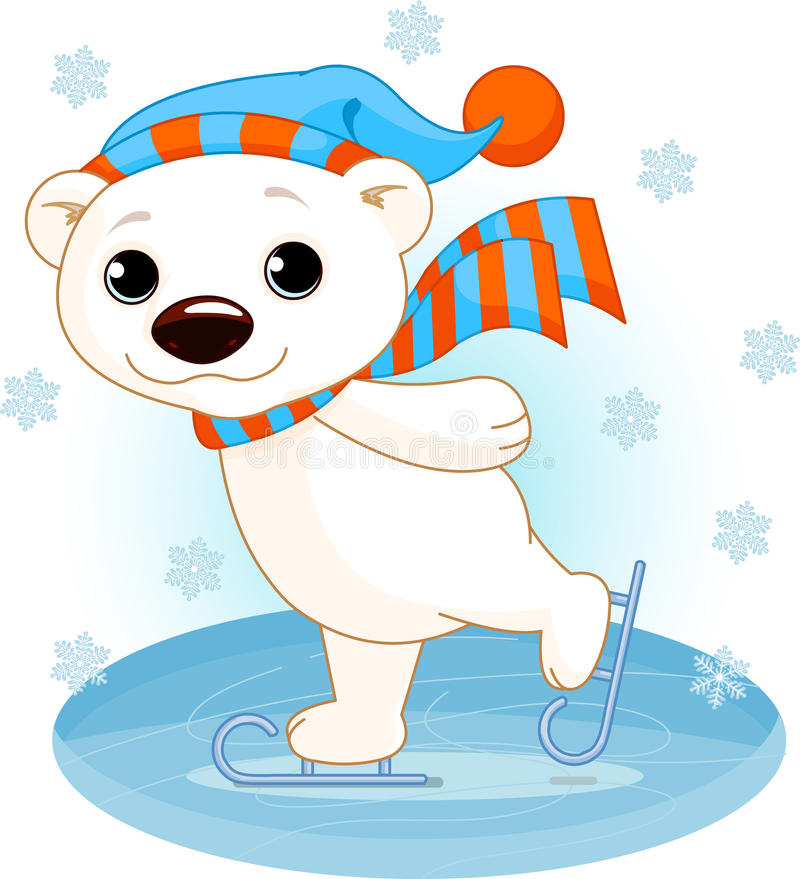 Polar bear on ice skates. Illustration of cute polar bear on ice skates royalty free illustration