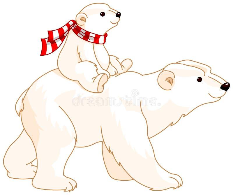 Polar Bear Mom and Baby stock illustration