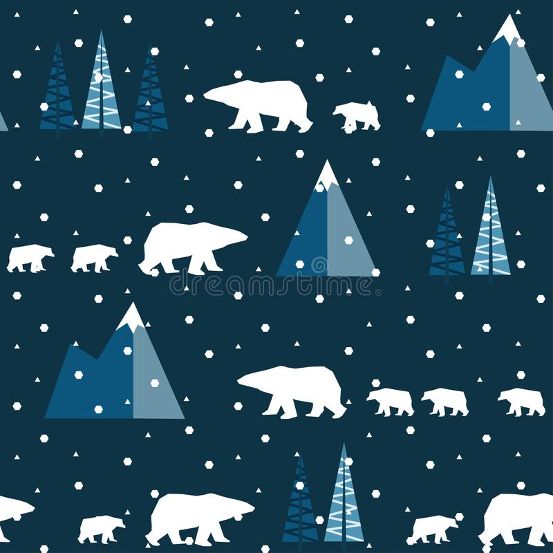 POLAR BEAR IN MOUNTAIN WINTER LANDSCAPE. FLAT POLYGON DESIGN. SEAMLESS VECTOR PATTERN stock illustration