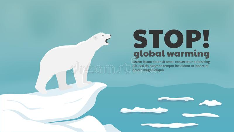 Polar bear needs sea ice to survive. Stop global warming concept. stock illustration