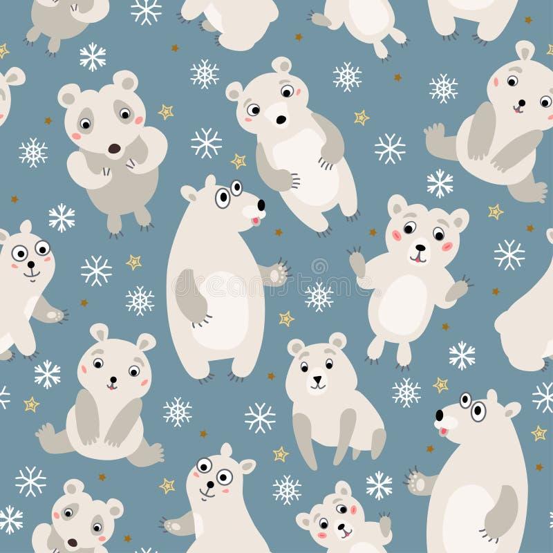 Polar bear Seamless Pattern. A Woodland animals vector illustration
