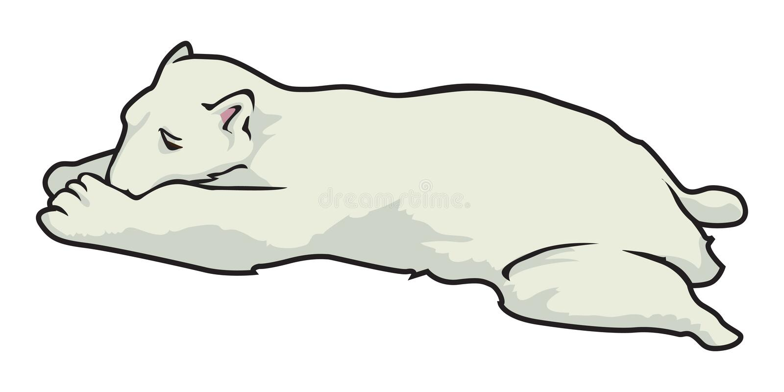 Polar bear sleeping royalty free illustration