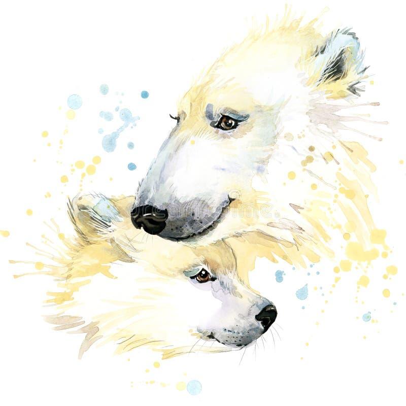 Polar bear T-shirt graphics, polar bear illustration with splash watercolor textured background. stock illustration