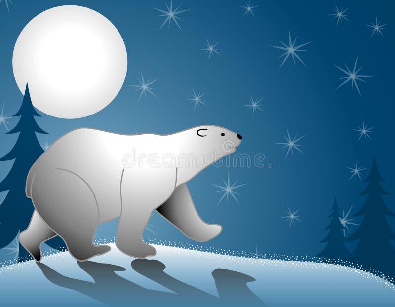 Polar Bear Walking Moonlight stock illustration