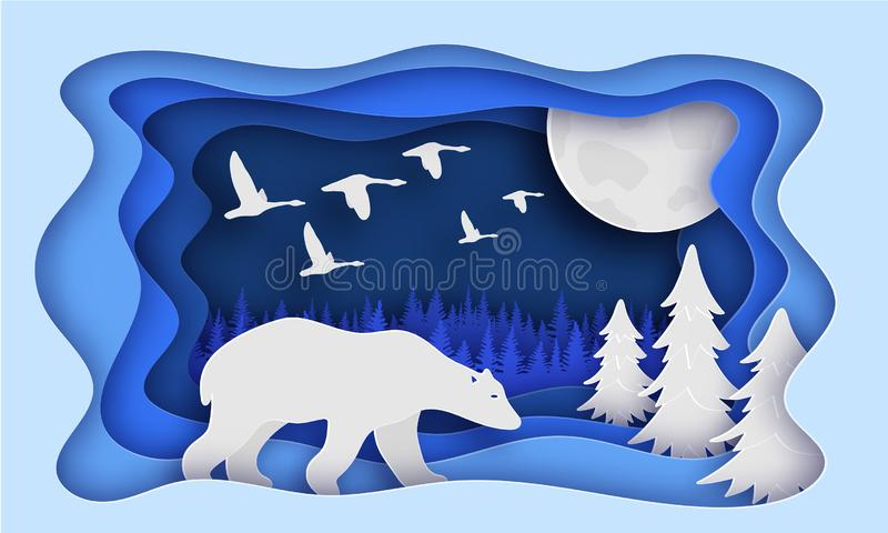 Polar bear is in the winter forest. Past The Trees. Night, moon. Birds fly away. New year. Paper style. royalty free illustration