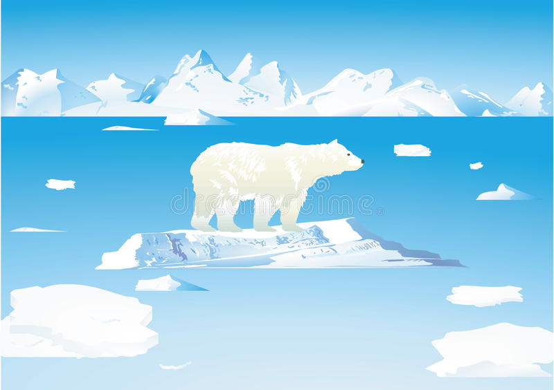 Polar bears and icebergs royalty free illustration
