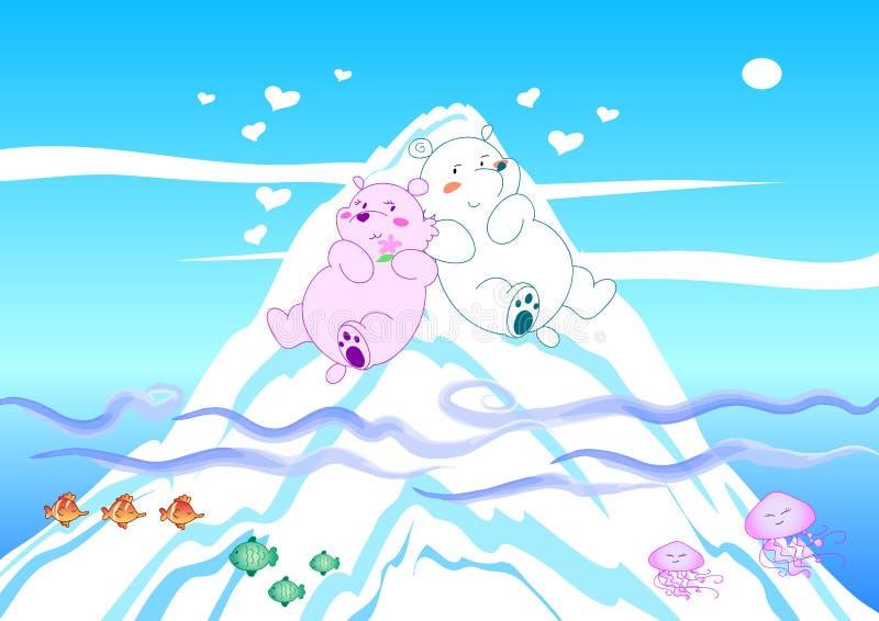 Polar bears in love stock photo