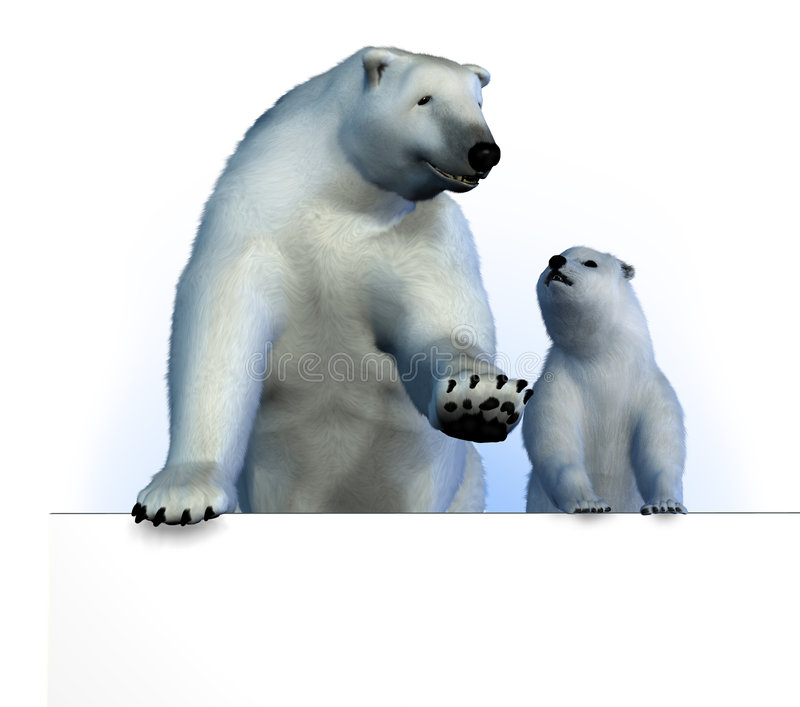 Download Polar Bears on Sign Edge stock illustration. Image of winter - 1606297