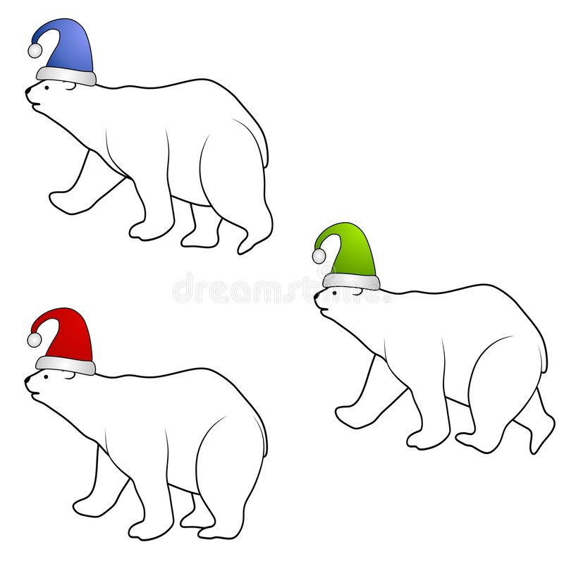 Polar Bears Wearing Santa Hats. A clip art illustration featuring a group of 3 polar bears wearing santa hats isolated on white background royalty free illustration