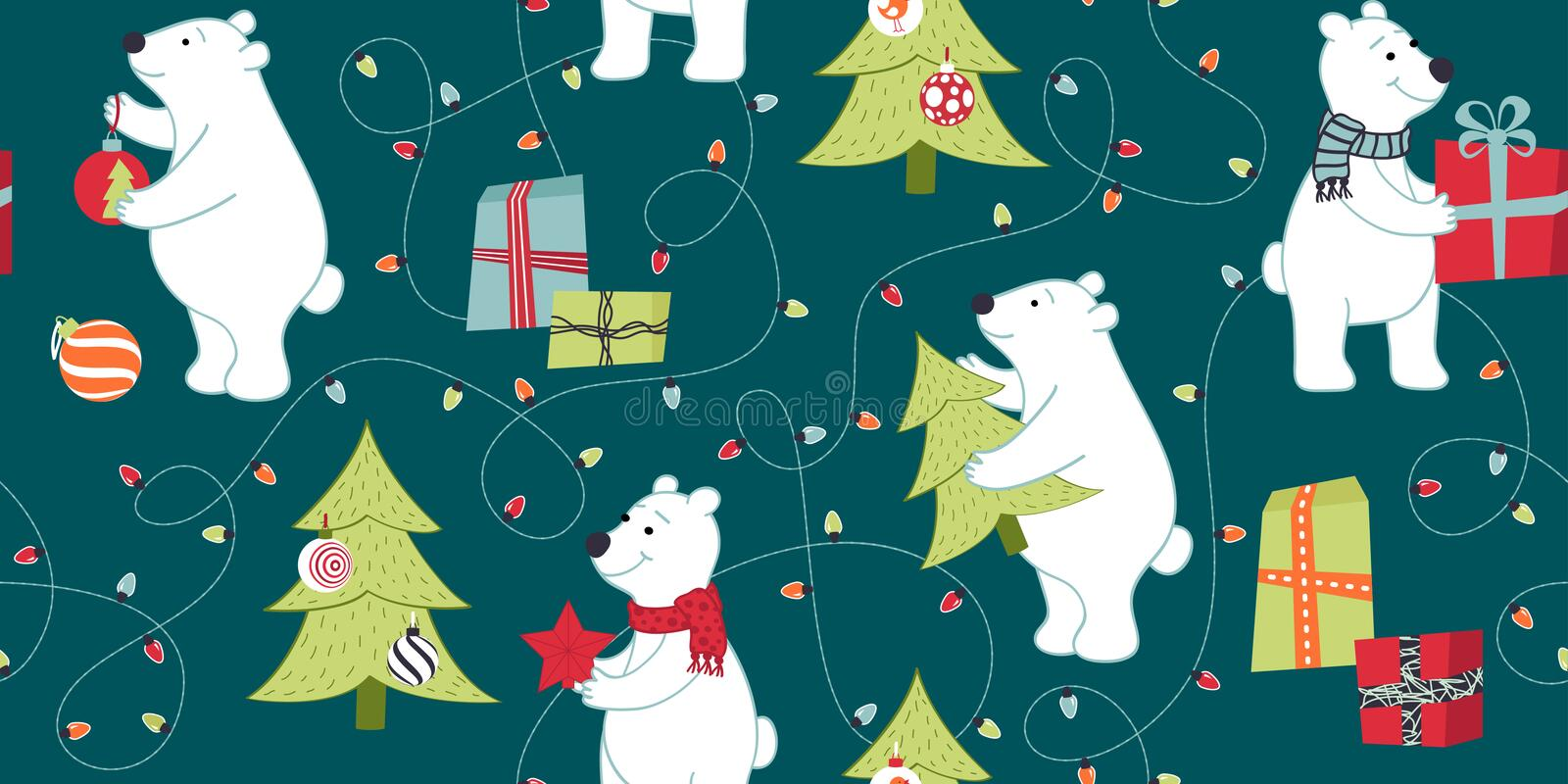 Bears are preparing for Christmas, preparing gifts, decorate the Christmas tree. royalty free illustration