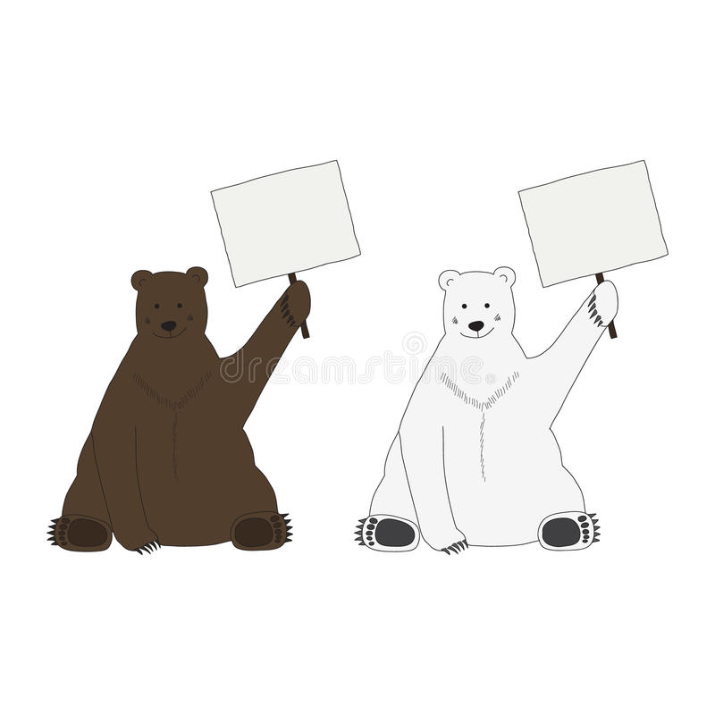 Download Polar And Brown Bear Hold An Empty Table Stock Vector - Image: 38555420