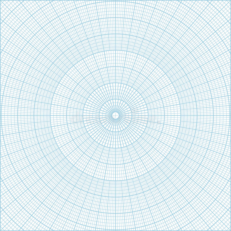 Polar Coordinate Circular Grid Graph Paper Background Stock Vector