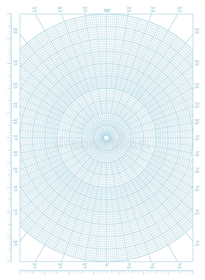 Polar Coordinate Circular Grid Graph Paper Stock Vector