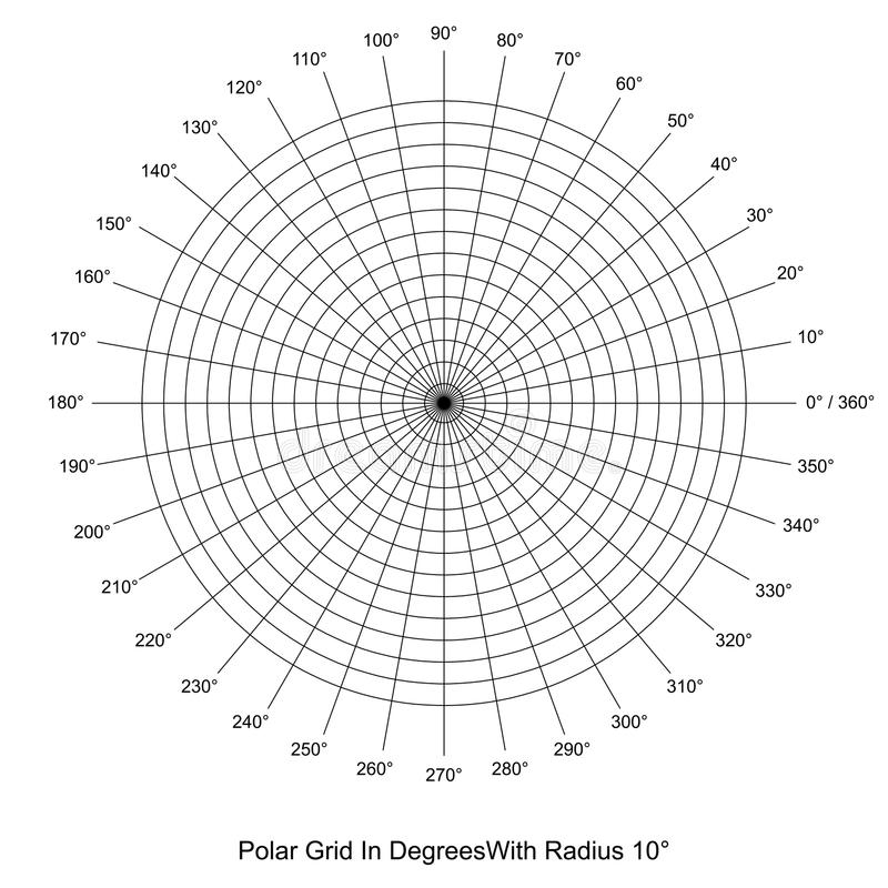 Polar Grid In Degrees Vector Stock Vector