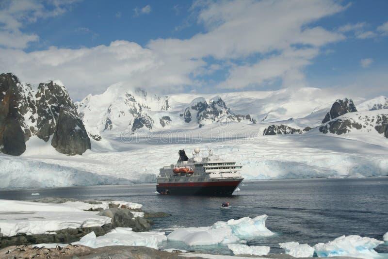 Polar landing boat approaching cruise ship