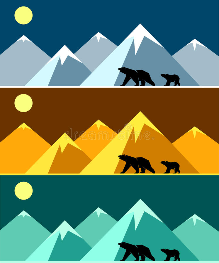 Free Polar Landscape Panorama In Three Colors. Stock Photography - 47644192