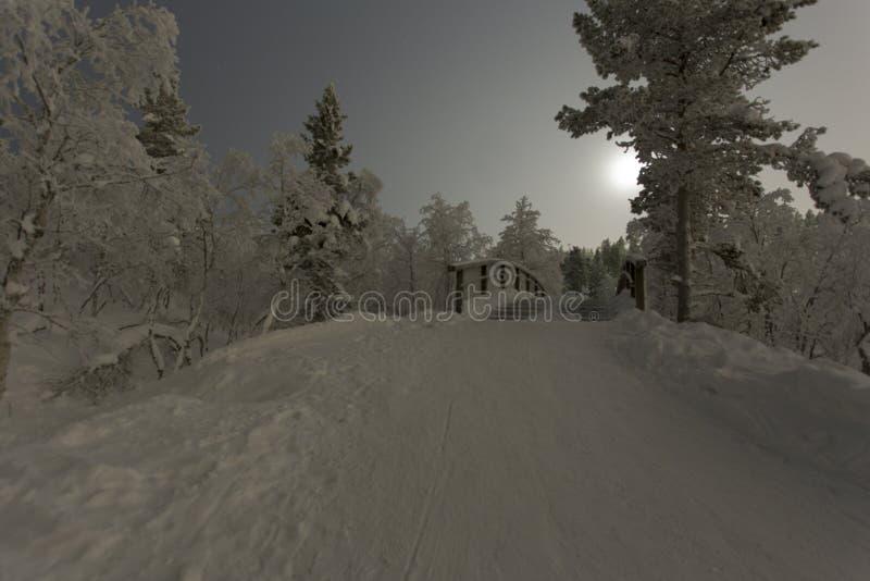 Polar night in finland. At saariselka stock photography