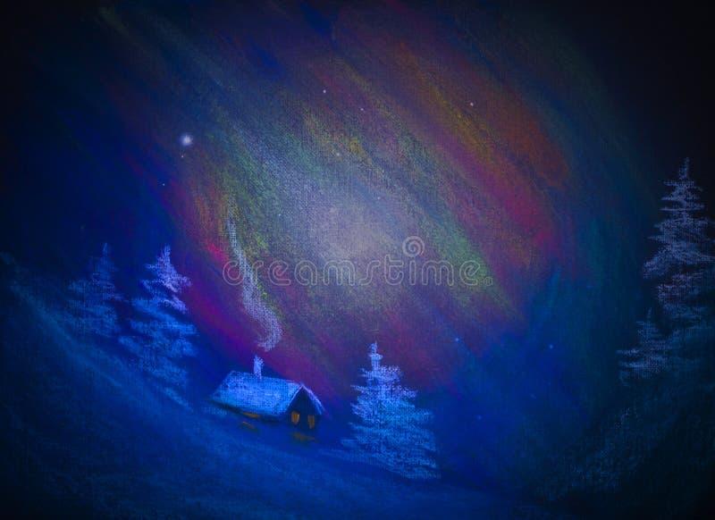 Polar night. And snow hut stock photos