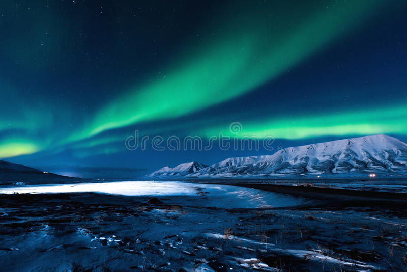 Polar Northern lights in Norway stock photos