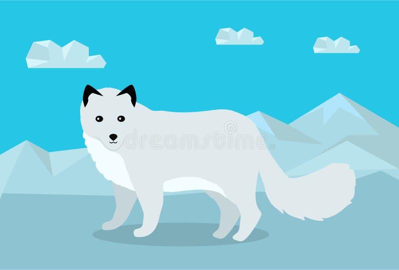 Polar rävvektorillustration i plan design vektor illustrationer