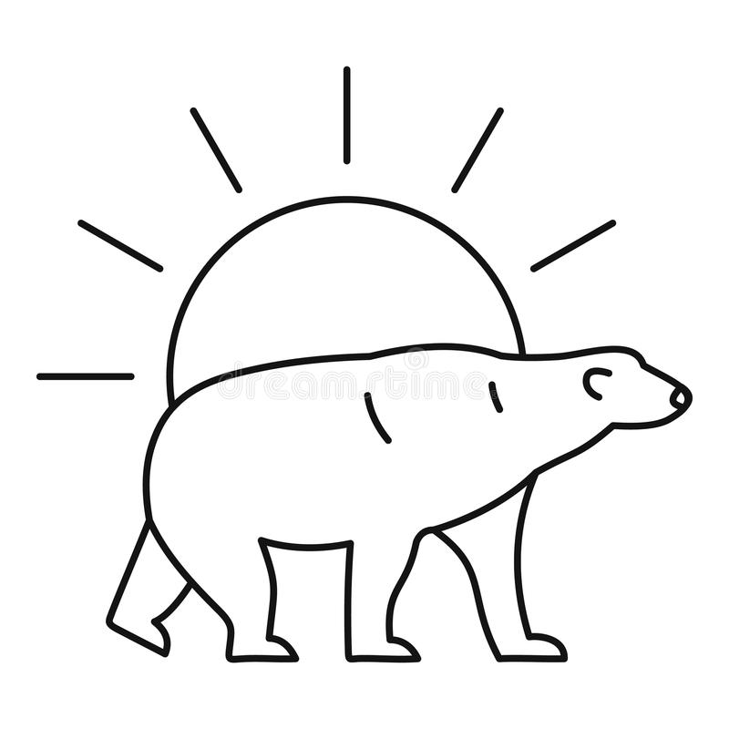Polar refiera el logotipo del sol, estilo del esquema libre illustration