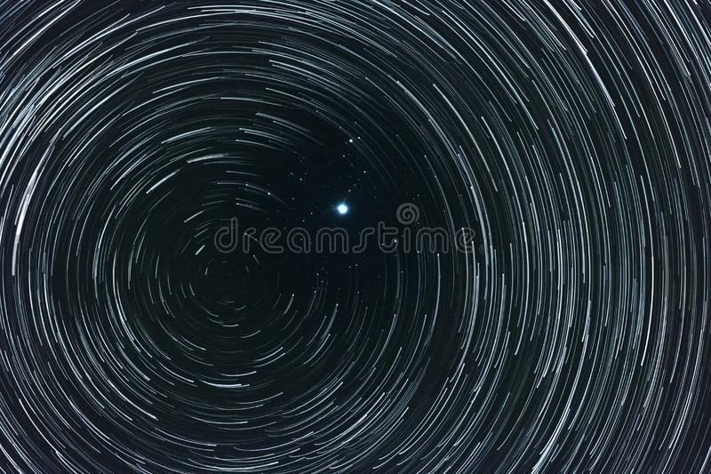 Starry sky with trails royalty free stock photography