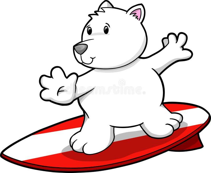 polar surfa vektor för björn stock illustrationer