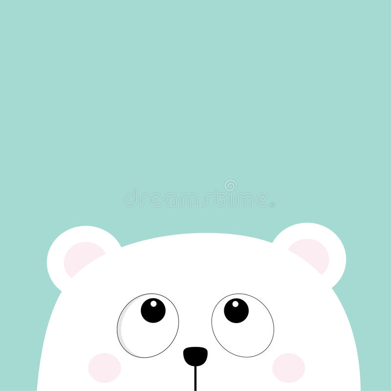 Polar white little small bear cub head face looking up. Big eyes. Cute cartoon baby character. Arctic animal collection. Flat desi vector illustration