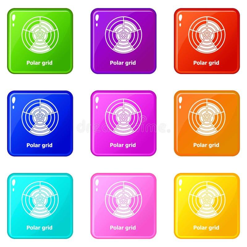 Polara rastersymboler ställde in samlingen för 9 färg vektor illustrationer