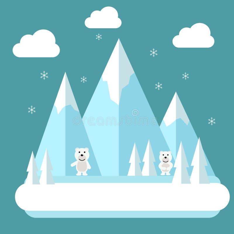Polare flache Landschaft des Winters Höhenkurortkonzeptszene Winterzeitlandschaft im flachen Design mit Eisbären, Berge, Baum stock abbildung