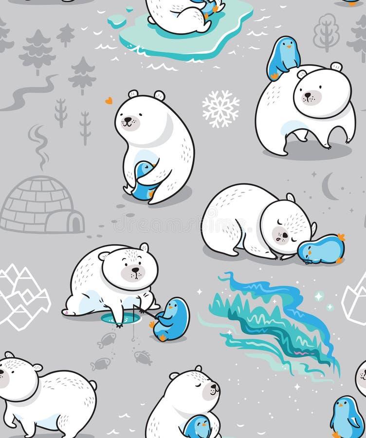 Polare Freundschaft Nahtloses Muster mit nettem Eisbären und seinem Freund - Pinguin lizenzfreie abbildung