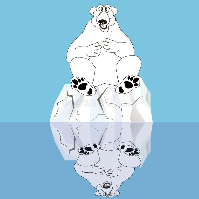Polare riguardi il ghiaccio incrinato riflesso nell'acqua sul blu royalty illustrazione gratis