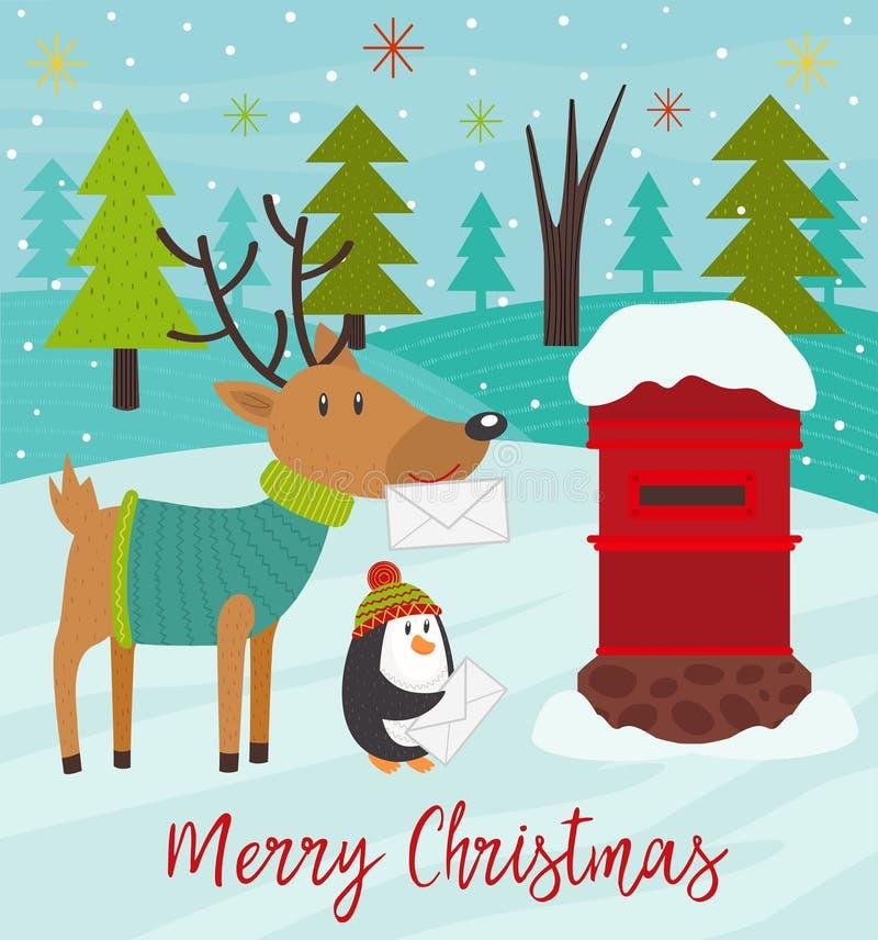Polare Tiere schicken Santa Claus Briefe lizenzfreie abbildung