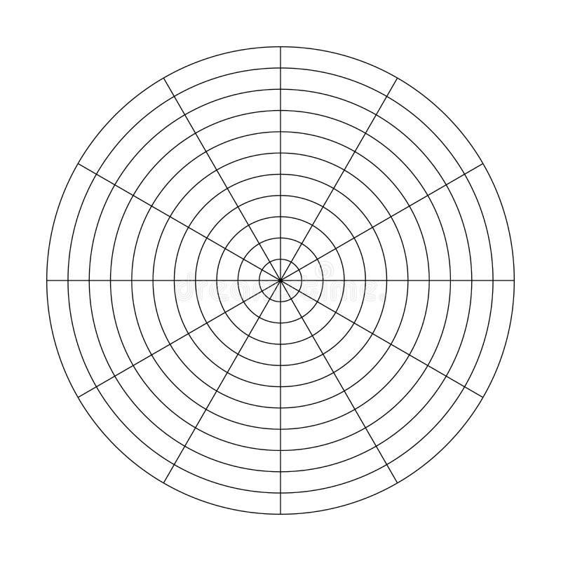 Polares Gitter von 10 konzentrischen Kreisen und von 30-Grad-Schritten Polares Zeichenpapier mit Maßeinteilung des leeren Vektors stock abbildung