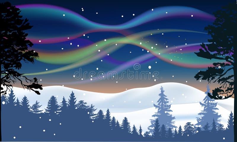Polaris da Aurora acima da floresta do inverno ilustração stock